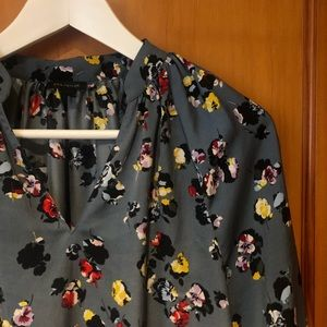 Silk blue floral blouse
